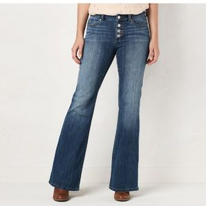 Lauren Conrad Flare Mid-Rise Button Fly Blue Jeans